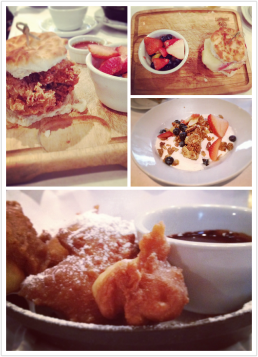 Clockwise from top left: Fried Chicken biscuit; ham biscuit; yogurt and granola; beignets